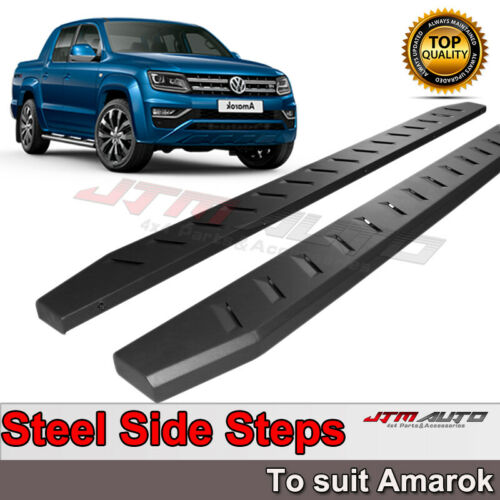 Heavy Duty Steel Black Off road Side Steps suit VW Volkswagen Amarok 2010-2021
