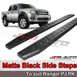 Heavy Duty Steel Black Side Steps to suit Ford Ranger