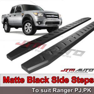 Heavy Duty Steel Black Side Steps to suit Ford Ranger PK PJ Dual Cab 2006-2011