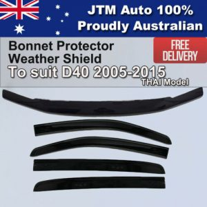 Bonnet Protector + Weathershields to suit Nissan Navara D40 2005-2015 Thai Model