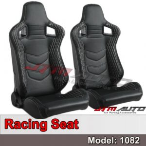 BN PAIR PU Leather BLACK WITH WHITE STITCHING RACING SPORT SEATS