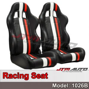BN PAIR PU Leather BLACK RED WHITE RACING SPORT SEATS