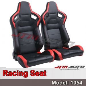 BN PAIR PU Leather BLACK RED RACING SPORT SEATS