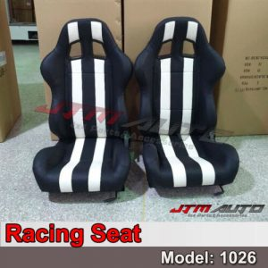 BN PAIR PU Leather BLACK WHITE RACING SPORT SEATS 1026
