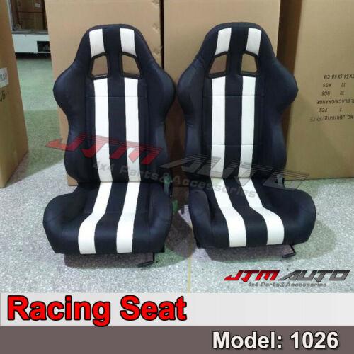 PU Leather BLACK WHITE RACING SPORT SEATS