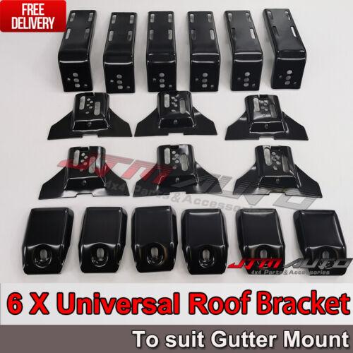 6 X Roof Rack Brackets Universal 15 CM for rain gutter mounts 4x4 4WD