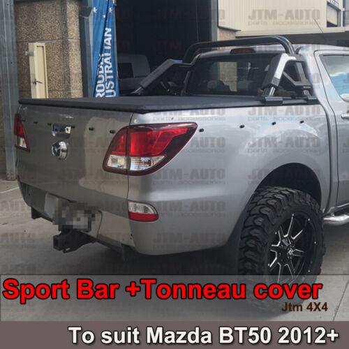 Black Roll Sport Bar + Folding Tonneau cover to suit Mazda BT-50 BT50 2012-2020