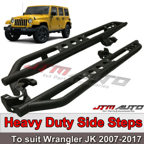 Heavy Duty Armor Black Off road Side Steps to suit Jeep Wrangler JK 4 Door 07-17