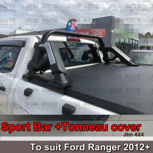 Black Roll Sport Bar + Folding Tonneau cover to suit Ford Ranger PX 2012-2019