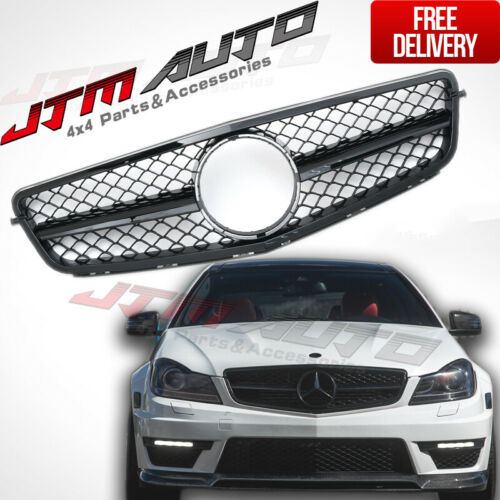 Panamericana Black C63 Style Bumper Grille Grill for Mercedes C-Class W204 C204