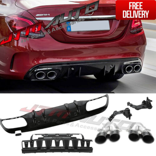 C43 AMG Style Bumper Diffuser & Exhaust Tips to suit Mercedes Benz C-Class W205