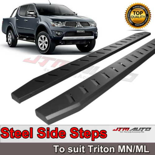 Heavy Duty Steel Black Off road Side Steps to suit Mitsubishi Triton MN ML 06-14