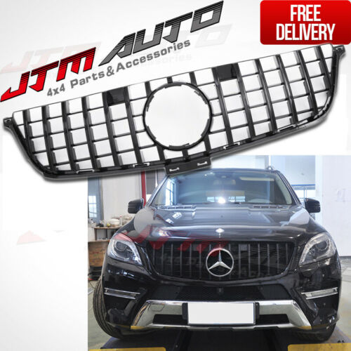 Gloss Black AMG GT Style Bumper Grille Grill For Mercedes-Benz ML-Class W166