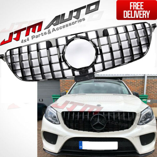 Gloss Black AMG GT Style Front Bumper Grille Grill For Mercedes-Benz GLE W166