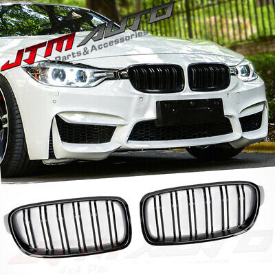 Gloss Black M3 Style Front Bumper Bar Grill Grille to suit BMW 3 Series F30 F31
