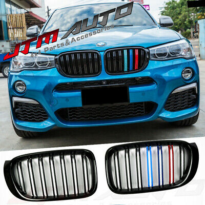 Gloss Black M Line Style Bumper Kidney Grill Grille for BMW X3 F25 LCI X4 F26