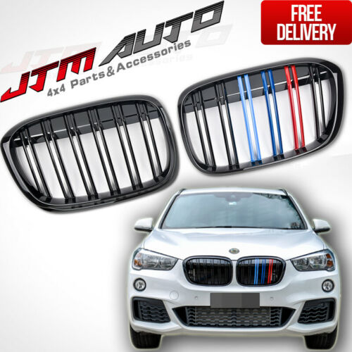 Gloss Black Double M Line Front Bumper Kidney Grill Grille for BMW X1 F48 15-19