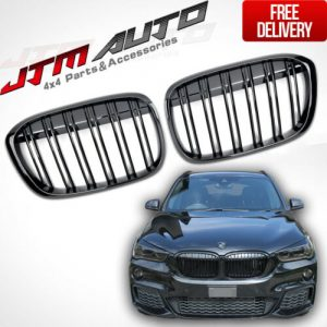 Gloss Black M Style Front Bumper Kidney Grill Grille for BMW X1 F48 2015-2019