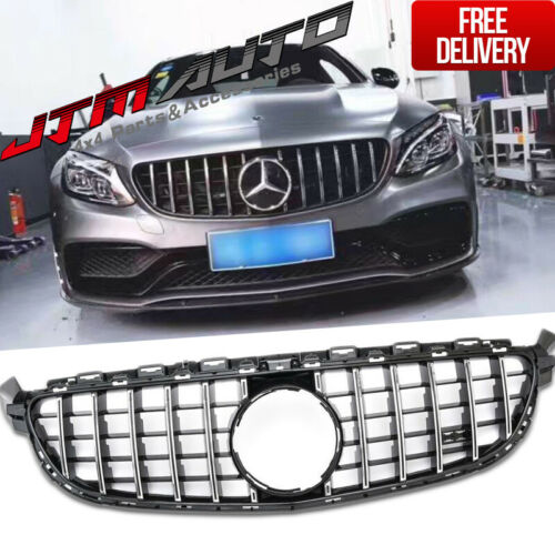Black GT Style Grill Grille to suit Mercedes C-Class W205 C205 & C43 2015-2018
