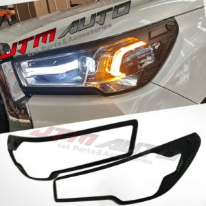 Black Head Light Cover Trim to suit Toyota Hilux SR5 Rogue 2020 My21+