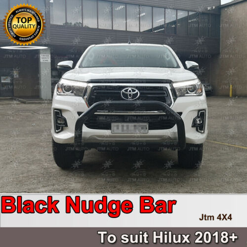"""Nudge Bar 3"""" Black Steel Grille Guard to suit Toyota Hilux 2018-2020"""