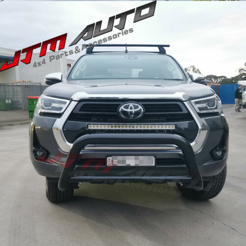 """Nudge Bar 3"""" Black Steel Grille Guard to suit Toyota Hilux N80 2020+"""