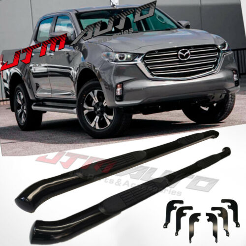 "Running Boards Side Steps 3"" Black Steel to suit Mazda BT-50 BT50 2020+ My21"