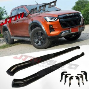 """Running Boards Side Steps 3"""" Black Steel to suit Isuzu Dmax D-max 2020+ MY21"""