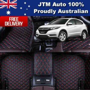 Honda HRV HR-V 3D Floor Mats Carpet Black PU Leather 2015-2021 Front And Rear