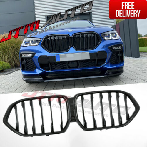 Gloss Black Double M Style Front Bumper Kidney Grill Grille for BMW X6 G06