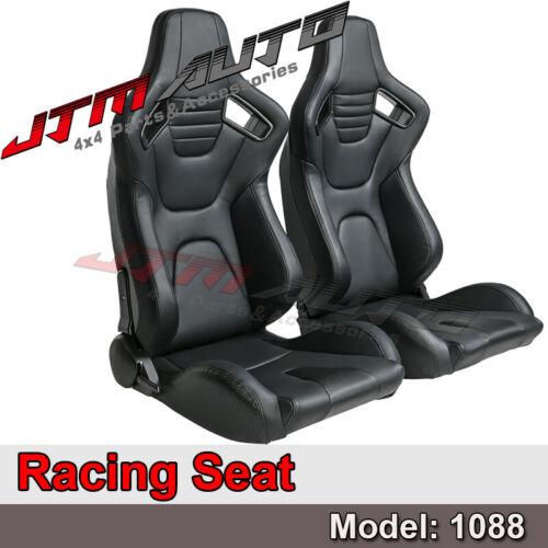 BN PAIR PU Leather BLACK WITH BLACK STITCHING RACING SPORT SEATS 1088BK