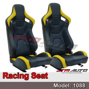 BN PAIR PU Leather BLACK WITH YELLOW RACING SPORT SEATS 1088 BK/YE