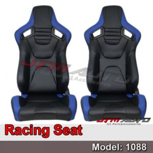 BN PAIR PU Leather BLACK WITH BLUE RACING SPORT SEATS 1088 BK/BL