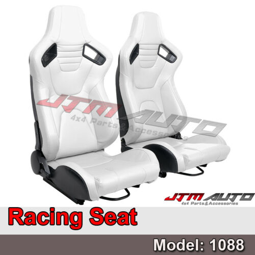 BN PAIR PU Leather WHITE RACING SEAT SPORT SEATS 1088 Wh