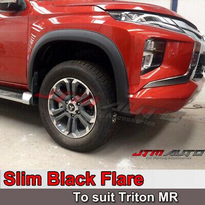 Slim Fender Flares Matte Black Guard Trim to suit Mitsubishi Triton MR 2018+