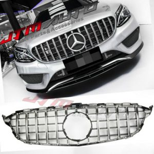 Chrome Black GT Style Grill Grille to suit Mercedes C-Class W205 C205 C43 15-18