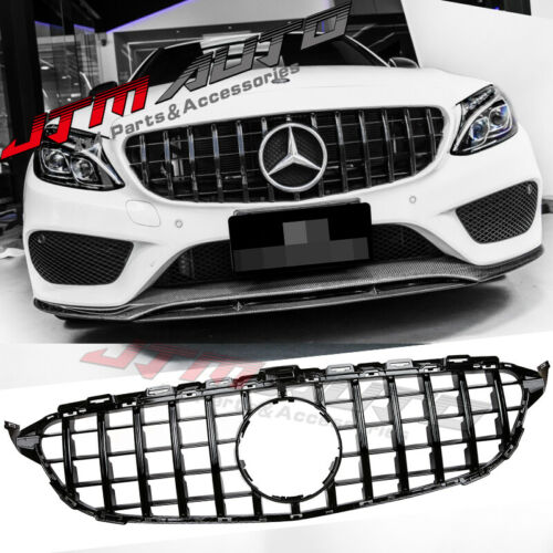 Gloss Black GT Style Grill Grille to suit Mercedes C-Class W205 C205 C43 15-18